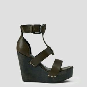 ALL SAINTS Rotchko Olive/Army Green Wedges